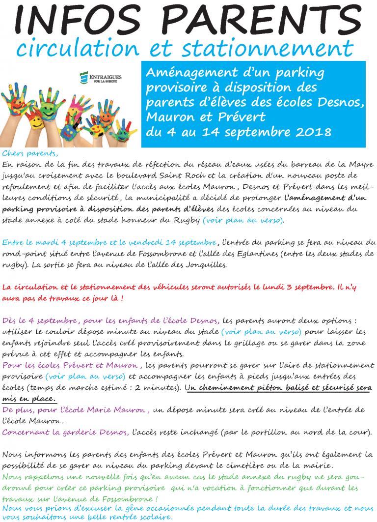 Aménagement d'un parking  provisoire à disposition des  parents d'élèves des écoles Desnos, Mauron et Prévert  du 4 au 14 septembre 2018