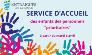 Covid 19 – Mesures pour la garde des enfants des personnels mobilisés à partir du 6 avril