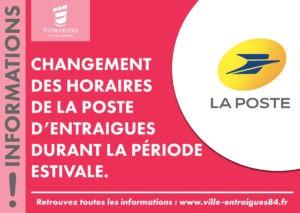 Information : aménagement des horaires de La Poste